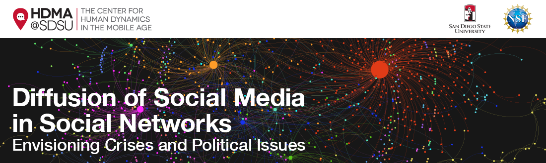 Diffusion of Social Media in Social Networks: Envisioning Crises and Political Issues Logo